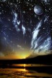 Giorno contro il concetto del waterscape di notte fotografie stock libere da diritti