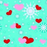 Giorno, cuori e fiocchi di neve del ` s del biglietto di S. Valentino della st Immagine Stock