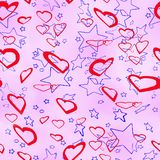 Giorno, cuori e stelle del ` s del biglietto di S. Valentino della st Fotografie Stock Libere da Diritti