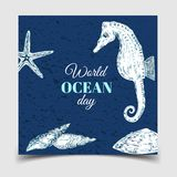 Giorno degli oceani del mondo La celebrazione dedicata per contribuire a proteggere gli oceani del mondo, royalty illustrazione gratis