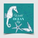 Giorno degli oceani del mondo La celebrazione dedicata per contribuire a proteggere gli oceani del mondo, illustrazione vettoriale