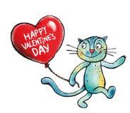 Giorno dei biglietti di S. Valentino - cuore dell'aerostato e un gattino Fotografia Stock Libera da Diritti