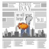 Giorno dei Caduti di U.S.A. il nono settembre Giorno 9 11 del patriota Giornale Fotografie Stock Libere da Diritti