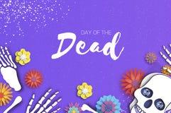 Giorno dei morti Cranio del taglio della carta per la celebrazione messicana Scheletro tradizionale del Messico Dia de Muertos Fe illustrazione vettoriale