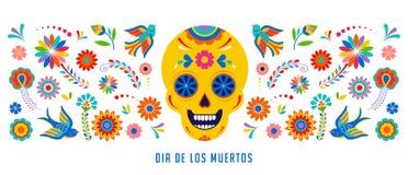 Giorno dei morti, del fondo del diametro de los muertos, dell'insegna e del concetto della cartolina d'auguri con il cranio dello