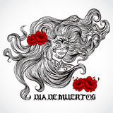 Giorno dei morti Donna con bei capelli ed i fiori rossi Illustrazione disegnata a mano d'annata di vettore Fotografia Stock Libera da Diritti