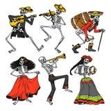 Giorno dei morti Festa nazionale messicana Iscrizione originale in Spanish Dia de los Muertos Scheletri in costumi illustrazione vettoriale