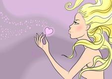 Giorno del bello biglietto di S. Valentino della ragazza Immagini Stock Libere da Diritti