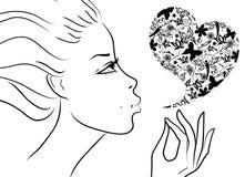 Giorno del bello biglietto di S. Valentino della ragazza Fotografia Stock Libera da Diritti