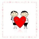 Giorno del biglietto di S. Valentino. Coppie con grande cuore rosso illustrazione vettoriale