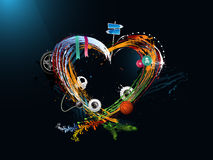 Giorno del biglietto di S. Valentino del cuore, graffito Fotografia Stock Libera da Diritti