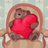Giorno del biglietto di S. Valentino dell'orsacchiotto Fotografia Stock