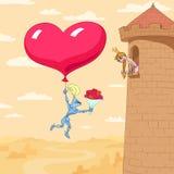 Giorno del biglietto di S. Valentino della principessa in una torretta Immagini Stock