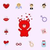 Giorno del biglietto di S. Valentino s, orso, giocattolo, amore, icona del cuore Ami l'insieme universale delle icone per il web  royalty illustrazione gratis