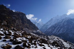 Giorno del campo base di Annapurna chiaro Immagini Stock Libere da Diritti