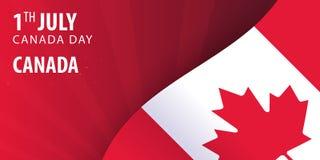Giorno del Canada Bandiera ed insegna patriottica Illustrazione di vettore Fotografia Stock