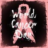 Giorno del cancro del mondo Citazione del segno circa consapevolezza del cancro al seno Fotografia Stock Libera da Diritti
