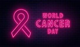 Giorno del Cancro del mondo, il 4 febbraio Nastro rosso nello stile leggero al neon Progettazione del fondo di giorno del Cancro  illustrazione di stock