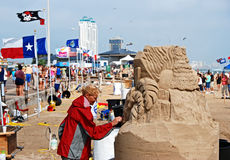 Giorno del castello della sabbia sulla spiaggia Fotografia Stock Libera da Diritti