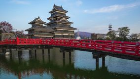 Giorno del castello di Matsumoto all'intervallo di notte a Matsumoto, prefettura di Nagano, Giappone stock footage