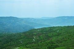 Giorno del Cipro delle colline verdi in primavera Fotografie Stock Libere da Diritti