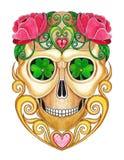Giorno del cranio della miscela di Art Vintage Heart dei morti Immagine Stock