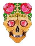 Giorno del cranio di Art Sugar dei morti Fotografie Stock Libere da Diritti