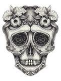 Giorno del cranio di Art Sugar dei morti disegno a matita della mano su carta royalty illustrazione gratis