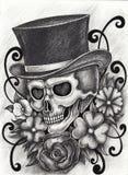 Giorno del cranio di arte dei morti Immagini Stock
