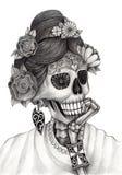 Giorno del cranio di arte dei morti Immagini Stock Libere da Diritti