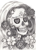 Giorno del cranio di arte dei morti Immagine Stock