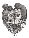 Giorno del cranio di arte dei morti Fotografie Stock