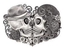 Giorno del cranio di arte dei morti Fotografie Stock Libere da Diritti