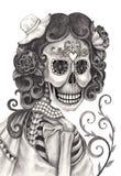 Giorno del cranio di arte dei morti illustrazione vettoriale