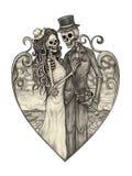 Giorno del cranio di arte dei morti illustrazione di stock