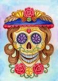 Giorno del cranio di arte del festival morto Fotografia Stock