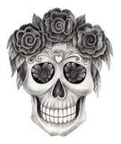 Giorno del cranio di arte del festival morto Immagine Stock