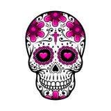 Giorno del cranio guasto tatuaggio del fiore dello zucchero Illustrazione di vettore illustrazione di stock