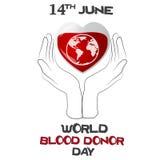 Giorno del donatore di sangue del mondo, illustrazione di vettore con cuore, pianeta Fotografie Stock