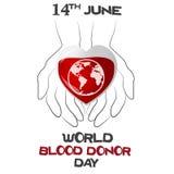 Giorno del donatore di sangue del mondo, illustrazione di vettore con cuore, pianeta Fotografia Stock
