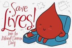 Giorno del donatore di sangue di Serene Blood Drop Donating During, illustrazione di vettore illustrazione di stock
