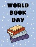 Giorno del libro del mondo Pila di cartolina sveglia del fumetto dei libri variopinti illustrazione vettoriale