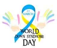 Giorno del mondo di sindrome di Down Nastro giallo blu e mani colorate Fotografia Stock Libera da Diritti