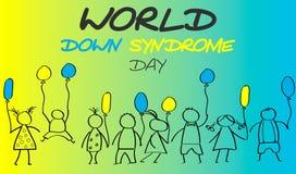 Giorno del mondo di sindrome di Down Scarabocchi per i bambini con le sedere colorate Immagini Stock Libere da Diritti