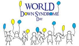 Giorno del mondo di sindrome di Down Scarabocchi per i bambini con le sedere colorate Immagine Stock
