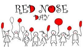 Giorno del mondo del naso rosso Scarabocchi per i bambini con il pallone colorato Fotografie Stock Libere da Diritti