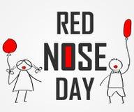 Giorno del mondo del naso rosso Scarabocchi per i bambini con il pallone colorato Immagini Stock Libere da Diritti