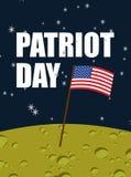 Giorno del patriota Bandiera americana sulla superficie della luna Bandiera U.S.A. sulla p gialla Immagine Stock Libera da Diritti