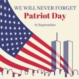 Giorno del patriota nell'insegna del quadrato di U.S.A. Carta con la bandiera americana e le iscrizioni di ricordo La siluetta de Immagini Stock