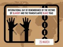 Giorno del ricordo internazionale delle vittime di schiavitù e della tratta degli schiavi transatlantica royalty illustrazione gratis